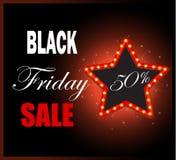 Black Friday światła retro rama Sprzedaż 50% z rabata Zdjęcia Royalty Free