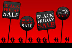 Black friday. Is the day following Thanksgiving Day (USA) and is considered as the beginning of the Christmas shopping season, with lots of promotional sales stock illustration