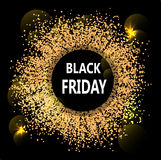 Black Friday abstract banner. Glowing flashes like solar eclipse. Royalty Free Stock Photography