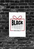 Black friday ad on black brick background