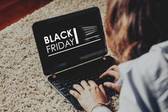 Black Friday advertisement in a laptop screen. Stock Photography