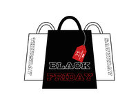 Black friday advertisement 25 november 2016.  on white shopping bags with a tag. Poster illustration. Vector. Illustration Stock Photos