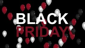 Black Friday advertisement with red, white and black balloons, background HD animation stock illustration
