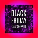 Black friday advertising banner with light bokeh in reddish purple version. Black friday start shopping advertising banner with light bokeh in reddish purple vector illustration