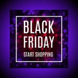 Black friday advertising banner with light bokeh in reddish purple version. Black friday start shopping advertising banner with light bokeh in reddish violet vector illustration