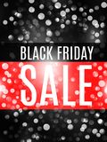 Black friday advertising banner with black white bokeh lights. Promotional flyer. Eps 10 vector royalty free illustration