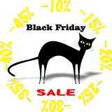 Black Friday. Advertising  illustrated Black Friday with black cat Royalty Free Stock Photos