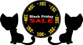 Black Friday. Advertising  illustrated Black Friday with black cats Royalty Free Stock Images
