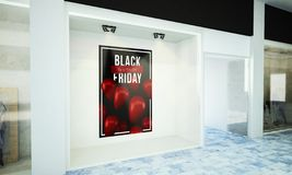 Black Friday Advertising Poster At Storefront Stock Images