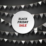 Black Friday affisch med Buntingstanderter, advertizingdesign Arkivbild