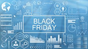 Black friday, animated typography vector illustration
