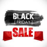 Black Friday-Aquarellfahne mit spritzt von der Tinte und von der Einkaufstasche Stockfotos
