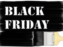 Black Friday-Aufkleber mit Bürste Stockbild