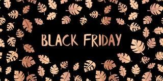 Black Friday aumentou o vetor de cobre do texto da folha do ouro ilustração do vetor