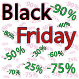 Black Friday background with discount percentages. Black Friday vector background with numbers and percentages of discounts Royalty Free Stock Photos