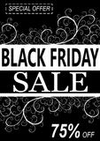 Black friday background with floral decorations.  Royalty Free Stock Photos