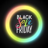 Black friday background. With neon shiny frame Stock Images