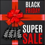 Black friday background with red bow and ribbons Royalty Free Stock Image
