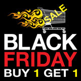 Black Friday background. Shopping cart, fire and text on black background Stock Photo