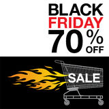 Black Friday background. Shopping cart,fire and text on black and white background Royalty Free Stock Image