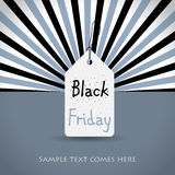 Black friday background with white tag Royalty Free Stock Image