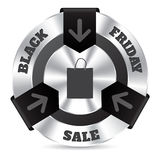 Black friday badge with shopping bag Royalty Free Stock Image