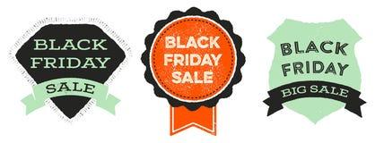 Black Friday Badges. Retro styled emblems advertising a Black Friday sale Stock Photography