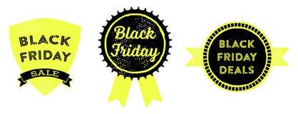Black Friday Badges. Retro styled emblems advertising a Black Friday sale Stock Image