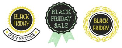 Black Friday Badges. Retro styled emblems advertising a Black Friday sale Royalty Free Stock Photography
