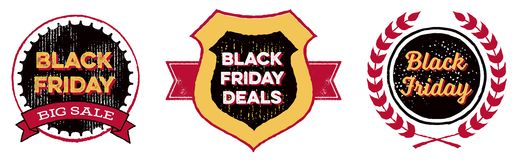 Black Friday Badges. Set of retro styled emblems advertising a Black Friday sale Royalty Free Stock Photo