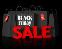 Black Friday bags and 3d red text sale. Black bags with the white words Black Friday and 3d red text sale on black background. 3D render illustration Stock Image