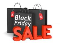Black Friday bags and 3d red text sale. Black shopping bags with the white words Black Friday and 3d red text sale . 3D render illustration Stock Photos