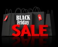 Black Friday bags and 3d red text sale. Black bags with the white words Black Friday and 3d red text sale on black background. 3D render illustration Royalty Free Stock Photography