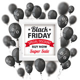 Black Friday Balloons Frame Percents Cover Stock Images