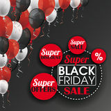 Black Friday Balloons i bottoni del cerchio Fotografie Stock