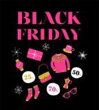 Black Friday, bandeira da venda do Natal, molde do cartaz ilustração stock