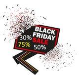 Black Friday baner på isolerad vit bakgrund Vektorillustration av exploderande rabatttecken Försäljningsbaner vektor illustrationer