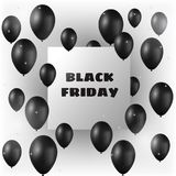 Black Friday banner with black balloons and frame vector illustration