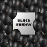 Black Friday banner with black balloons and frame stock illustration