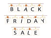 Black Friday Banner of Blank Photos with Maple Leaves Stock Image