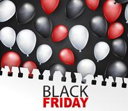 Black Friday banner design template. Big sale advertising promo concept with balloons covered by a torn out sheet of copybook pape