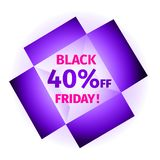 Black friday banner in the form open box. Advertising banner in the form open purple box, glowing from the inside with the inscription Black Friday 40 percent vector illustration