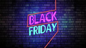 Black friday banner, black friday label, advertising,animation,glow, media,neon royalty free illustration