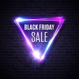 Black friday banner. Neon triangle background. Shining geometric shape. Glowing tag. Modern shopping sign on brick backdrop. Black friday sales design stock illustration