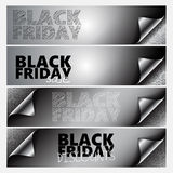 4 Black Friday banner Page corner set Royalty Free Stock Photography