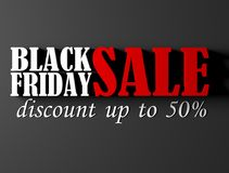 Black Friday banner with 50 percent discount. 3D render illustration Stock Photo
