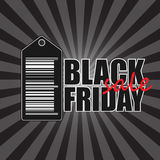 Black friday banner. Black friday sale banner with sticker isolated on dark background with rays Royalty Free Stock Image