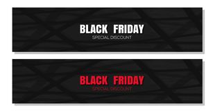 Black Friday banner set. Special discount. Abstract black background for Black Friday. Vector illustration Stock Images