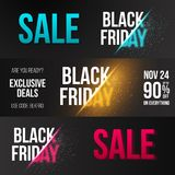 Black Friday Banner Set Template with Vector Explosion Effect Royalty Free Stock Photo