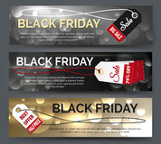 Black friday banner set. Web banners for big sale vector illustration Stock Image